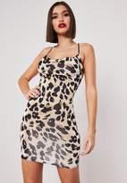 Missguided Tan Leopard Print Slinky Cowl Neck Bodycon Mini Dress