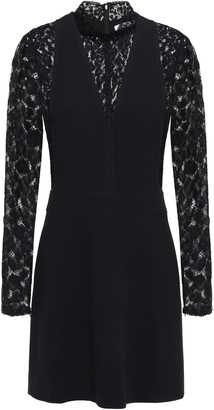 Givenchy Lace-paneled Crepe Mini Dress