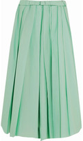 Marni Pleated Cotton Midi Skirt - Mint