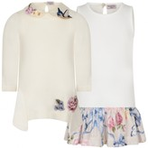 MonnaLisa MonnalisaBaby Girls Ivory Cotton Knit Floral Dress