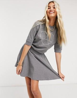 Love Moschino heart logo skater mini dress in grey