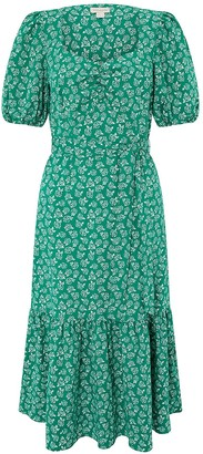 Monsoon Roxie Rose Print Organic Cotton Dress - Green