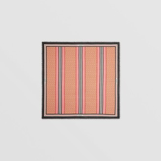 Burberry Icon Stripe Monogram Print Wool Silk Square Large Scarf