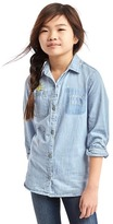Gap 1969 Doodle Embroidery Chambray Shirt