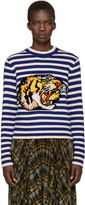 Gucci Blue and White Striped Tiger Sweater