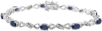 FINE JEWELRY Lab Created Blue Sapphire Sterling Silver 7.5 Inch Tennis Bracelet
