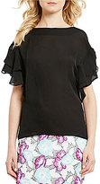 Antonio Melani Nell Ruffle Sleeve Solid Silk Blouse