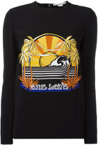 Stella McCartney One Love embroidered stretch sweatshirt - women - Spandex/Elastane/Acetate/Viscose - 42