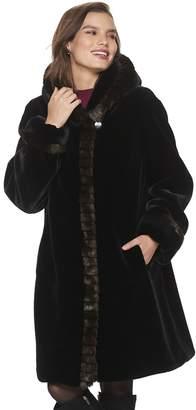 Gallery Women's Shawl Collar Faux-Fur Coat