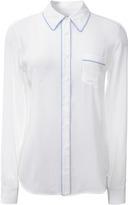 Equipment Brett Contrast-Trim Washed-Silk Shirt