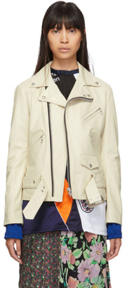 Junya Watanabe Off-White Leather Motorcycle Jacket
