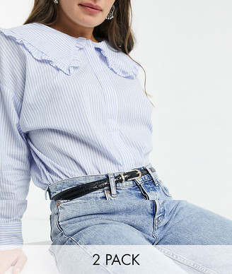 ASOS DESIGN 2 pack rectangle buckle skinny waist and hip belts in croc