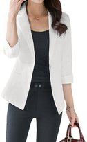 uxcell Woman Notched Lapel 3/4 Sleeves One Button Closure Blazer