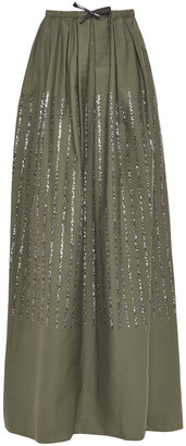 Brunello Cucinelli Pleated Sequin-embellished Cotton-blend Twill Maxi Skirt
