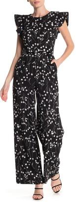 Modern American Designer Ruffle Shoulder Print Wide Leg Jumpsuit
