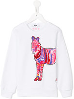MSGM beaded horse sweatshirt - kids - Cotton - 6 yrs