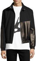 McQ Virgin Wool & Leather Bomber Jacket, Black