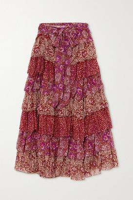 Ulla Johnson Fayanna Tiered Floral-print Fil Coupe Silk-blend Midi Skirt - Burgundy