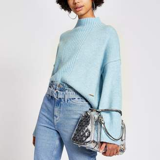River Island Womens Blue long sleeve cropped knitted jumper