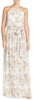 Donna Morgan &Alana& Print Chiffon Halter Style Gown