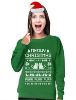 TeeStars - Meowy Christmas Ugly Sweater - Cute Xmas Party Women Sweatshirt