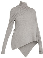 Marques Almeida MARQUES'ALMEIDA High-neck draped ribbed-knit wool sweater