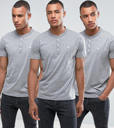 Abercrombie & Fitch 3 Pack Henley Muscle Slim Fit T-Shirt In Grey