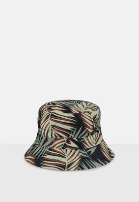 Missguided Green Palm Print Bucket Hat