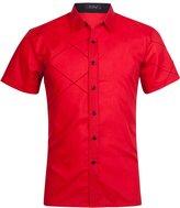 Xi Peng Men's Casual Business Cotton Button Down Short Sleeve Dress Shirts