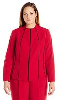 Kasper Women's Plus Size Stretch Crepe Zip up Jacket