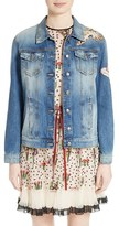 RED Valentino Women's Hummingbird Patch Denim Jacket