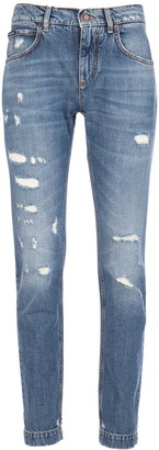 Dolce & Gabbana Embellished Distressed Denim Jeans