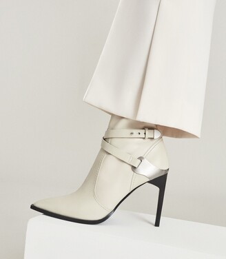 Reiss Hayworth High - Leather Point-toe Boots in Off White