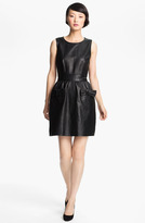 Bow Detail Leather Dress