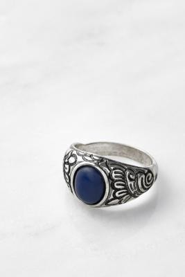 Urban Outfitters Boho Dark Blue Floral Ring - Silver S/M at