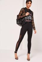 Missguided Mesh Side Jersey Leggings Black