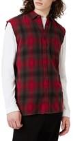 Topman Men's Sleeveless Plaid Shirt