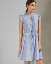 Ted Baker Stand Collar Ruffle Dress