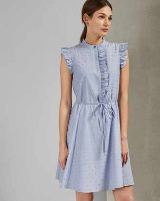 Ted Baker Stand Collar Ruffle Dress
