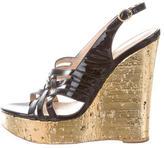 Saint Laurent Patent Leather Wedge Sandals