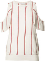 Brunello Cucinelli cut-off shoulder knitted blouse