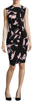 Escada Sleeveless French-Rose-Print Sheath Dress, Black/Rose