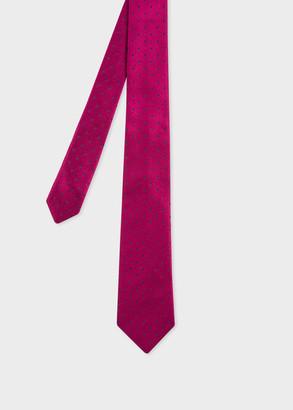 Paul Smith Men's Raspberry Polka Dot Narrow Silk Tie