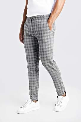 boohoo Textured Check Smart Jogger Trouser