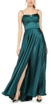 Blondie Nites Juniors' Pleated Illusion Satin Gown