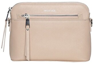 Mocha Joan Zip Clutch Leather Crossbody Bag - Nude