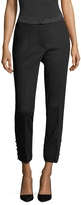 Oscar de la Renta Women's Wool Button Cuff Crop Pant
