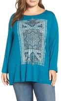 Lucky Brand Plus Size Women's Intricate Rug Graphic Tee