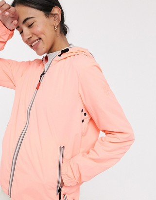 Hunter shell jacket in bright coral
