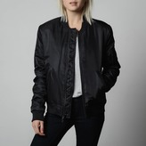 DSTLD Womens Nylon Bomber Jacket with Black Zippers in Black